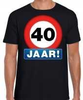 40e verjaardag stopbord shirt kleding 40 jaar zwart heren