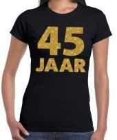 45e verjaardag cadeau t-shirt zwart goud dames