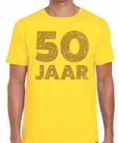 50 jaar fun jubileum t-shirt geel goud heren