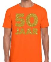 50 jaar fun jubileum t-shirt oranje goud heren