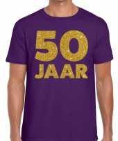 50 jaar fun jubileum t-shirt paars goud heren