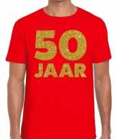 50 jaar fun jubileum verjaardag shirt rood heren