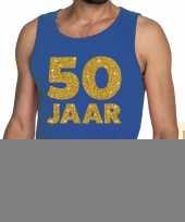 50 jaar fun tanktop mouwloos shirt blauw heren