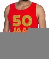 50 jaar fun tanktop mouwloos shirt rood heren