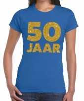 50 jaar tekst fun verjaardag shirt blauw dames