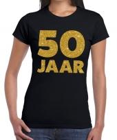 50 jaar verjaardag fun t-shirt zwart dames