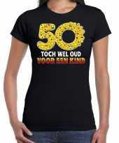 50 toch wel oud een kind emoticon fun sarah shirt dames zwart
