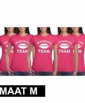 5x vrijgezellenfeest-shirt fuchsia dames maat m