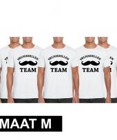 5x vrijgezellenfeest-shirt wit heren maat m