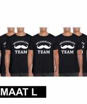 5x vrijgezellenfeest-shirt zwart heren maat l