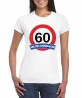60 jaar verkeersbord t-shirt wit dames