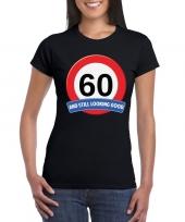60 jaar verkeersbord t-shirt zwart dames