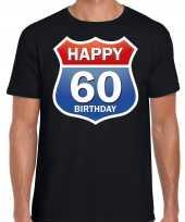 60e verjaardag happy birthday shirt kleding route bord 60 jaar zwart heren