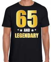 65 and legendary verjaardag cadeau shirt kleding 65 jaar zwart goud heren