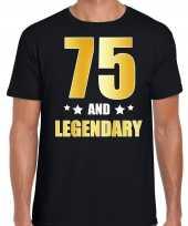 75 and legendary verjaardag cadeau shirt kleding 75 jaar zwart goud heren