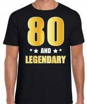80 and legendary verjaardag cadeau shirt kleding 80 jaar zwart goud heren