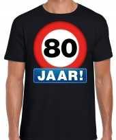 80e verjaardag stopbord shirt kleding 80 jaar zwart heren