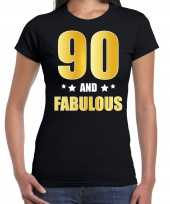 90 and fabulous verjaardag cadeau shirt kleding 90 jaar zwart goud dames