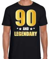 90 and legendary verjaardag cadeau shirt kleding 90 jaar zwart goud heren