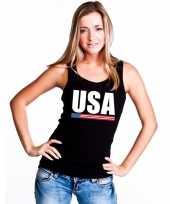 Amerika supporter mouwloos shirt tanktop zwart dames