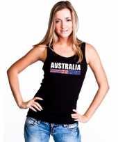 Australie supporter mouwloos shirt tanktop zwart dames