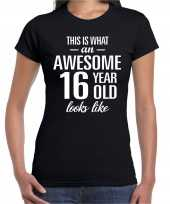 Awesome 16 year cadeau verjaardag t-shirt zwart dames
