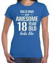 Awesome 18 year cadeau verjaardag t-shirt blauw dames