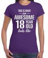 Awesome 18 year cadeau verjaardag t-shirt paars dames