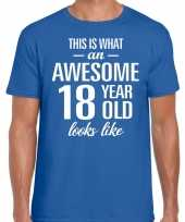 Awesome 18 year verjaardag cadeau t-shirt blauw heren