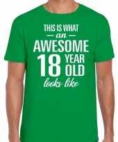 Awesome 18 year verjaardag cadeau t-shirt groen heren