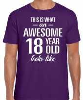 Awesome 18 year verjaardag cadeau t-shirt paars heren