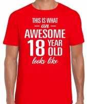 Awesome 18 year verjaardag cadeau t-shirt rood heren