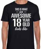 Awesome 18 year verjaardag cadeau t-shirt zwart heren