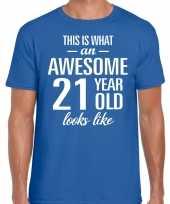 Awesome 21 year verjaardag cadeau t-shirt blauw heren