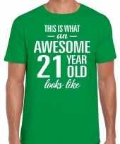 Awesome 21 year verjaardag cadeau t-shirt groen heren