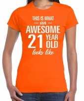 Awesome 21 year verjaardag cadeau t-shirt oranje dames