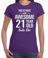 Awesome 21 year verjaardag cadeau t-shirt paars dames