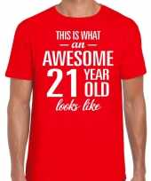 Awesome 21 year verjaardag cadeau t-shirt rood heren