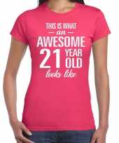 Awesome 21 year verjaardag cadeau t-shirt roze dames