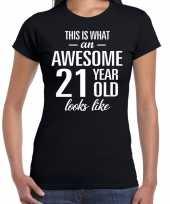 Awesome 21 year verjaardag cadeau t-shirt zwart dames