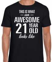 Awesome 21 year verjaardag cadeau t-shirt zwart heren