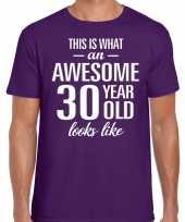 Awesome 30 year verjaardag cadeau t-shirt paars heren
