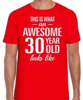 Awesome 30 year verjaardag cadeau t-shirt rood heren