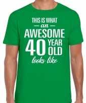 Awesome 40 year verjaardag cadeau t-shirt groen heren