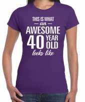 Awesome 40 year verjaardag cadeau t-shirt paars dames