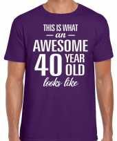 Awesome 40 year verjaardag cadeau t-shirt paars heren