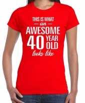 Awesome 40 year verjaardag cadeau t-shirt rood dames