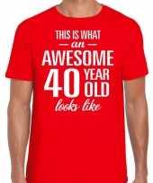 Awesome 40 year verjaardag cadeau t-shirt rood heren