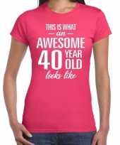Awesome 40 year verjaardag cadeau t-shirt roze dames