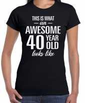 Awesome 40 year verjaardag cadeau t-shirt zwart dames